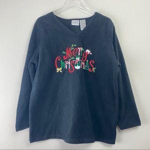 VINTAGE WHITE STAG Black Fleece Christmas Sweater
